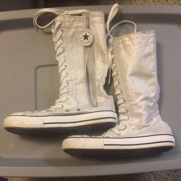 Converse Other - Knee high silver glitter converse c04d406ae